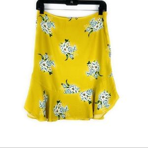 LOFT Yellow Floral Dress w/ Ruffle Hem